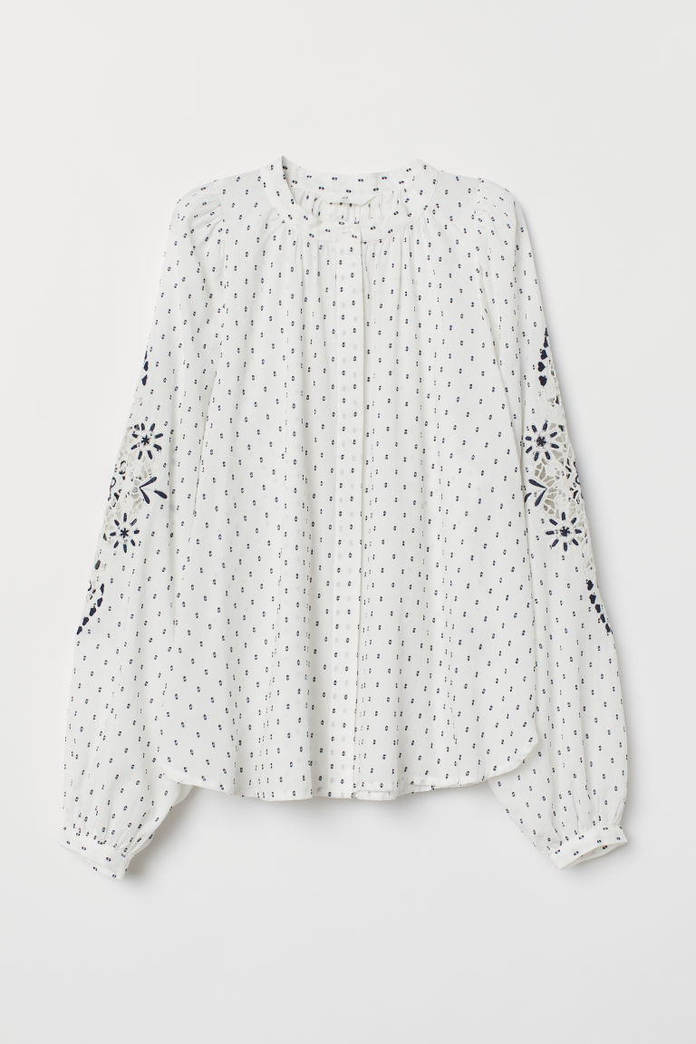 Blouse with embroidery - White -  | H&M GB