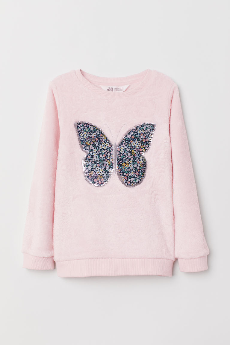 Pile top - Light pink/Butterfly - Kids | H&M CN