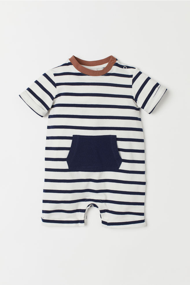 1fe413b36b99 Printed Jersey Jumpsuit - White blue striped - Kids