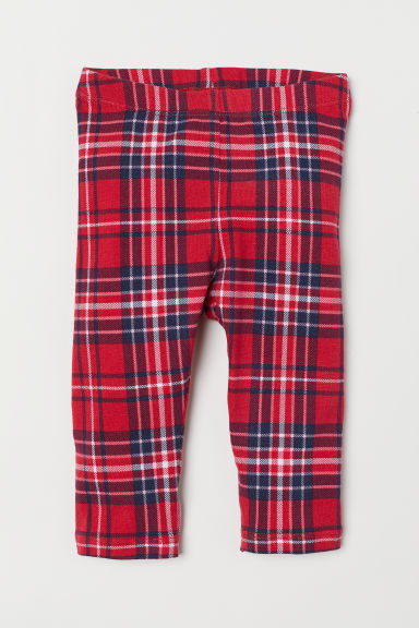 Jersey leggings - Red/Checked - Kids | H&M CN