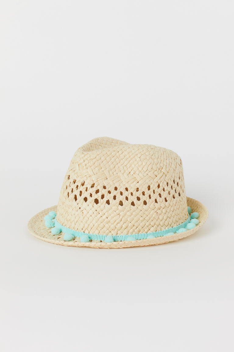 Straw hat with pompoms - Natural - Kids | H&M
