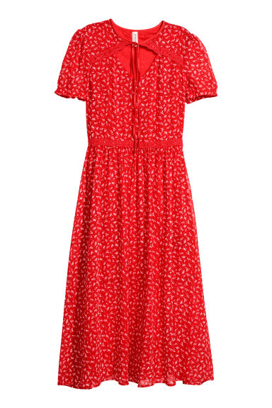 Puff-sleeved dress - Red/Floral - Ladies | H&M CN