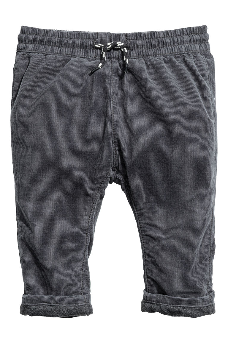 Fully lined corduroy trousers - Dark grey - Kids | H&M