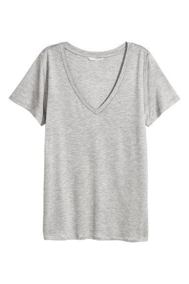 V-neck jersey top - Light grey marl - Ladies | H&M