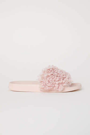 Faux fur slides - Light pink - Ladies | H&M CN