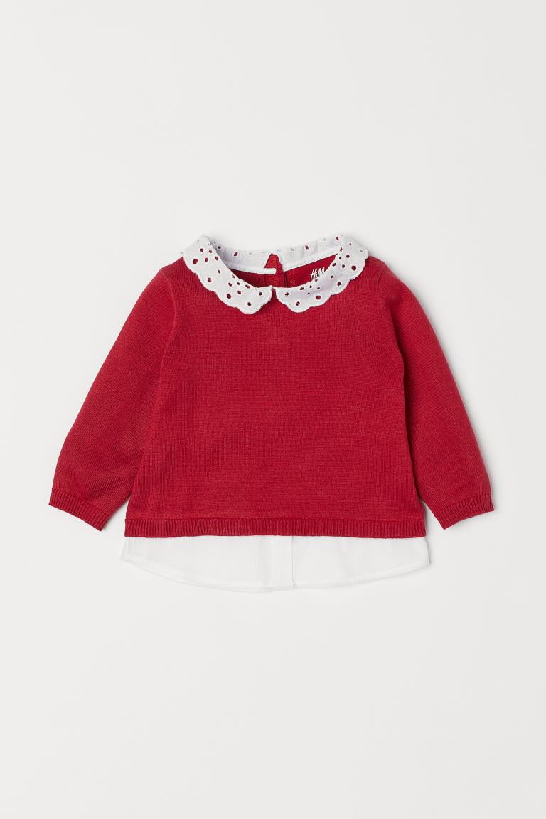 Jumper with a collar - Red - Kids | H&M CN