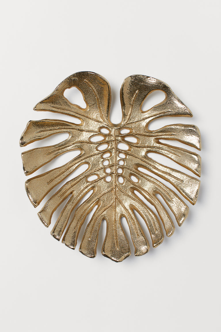 Leaf-shaped metal tray - Gold-coloured/Monstera - Home All | H&M IE