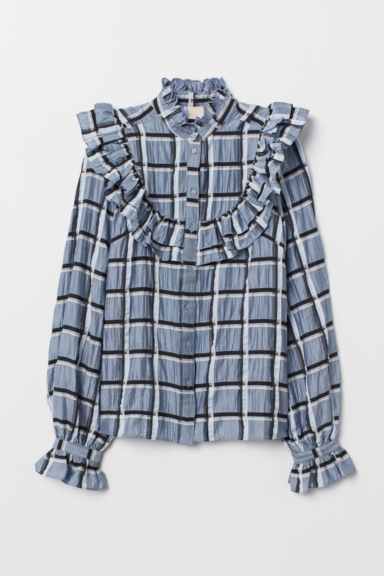 Lyocell-blend blouse - Light blue/Checked - Ladies | H&M