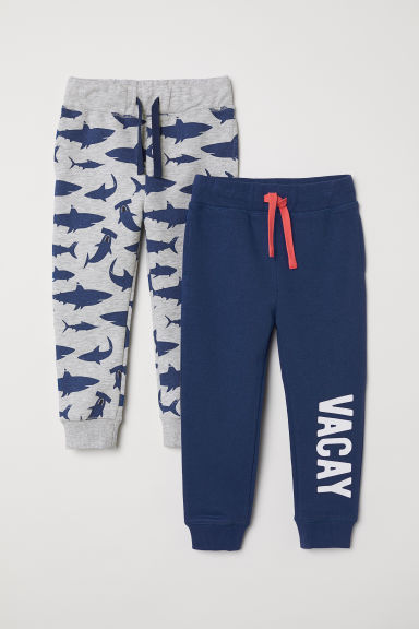 2-pack joggers - Blue/Sharks - Kids | H&M CN