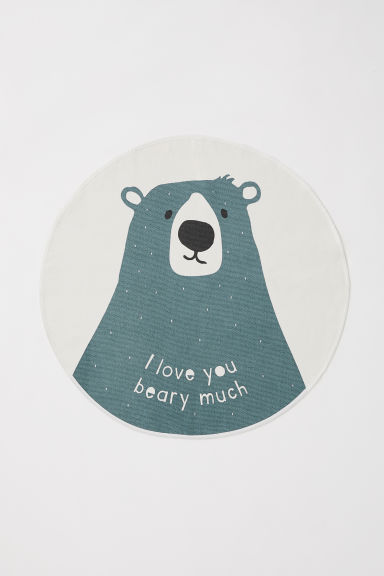 Tappeto rotondo con motivo - Turchese scuro/orso - HOME | H&M IT
