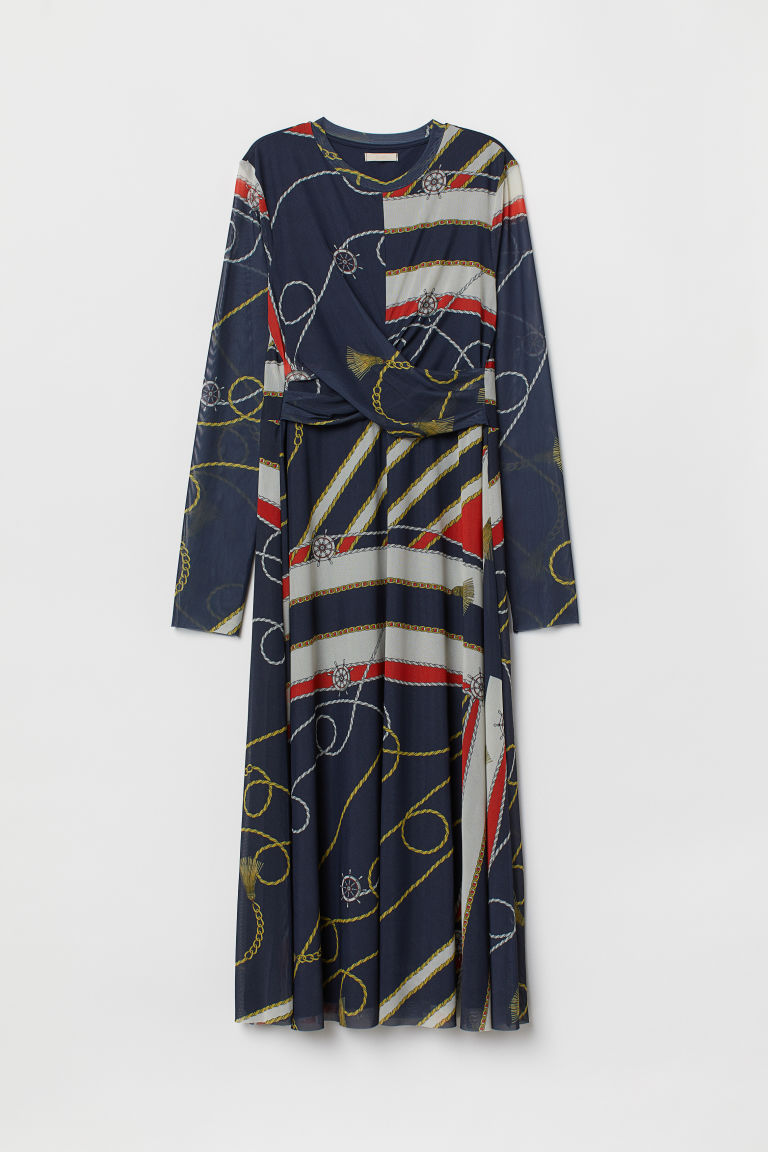 Draped dress - Dark blue/Patterned - Ladies | H&M