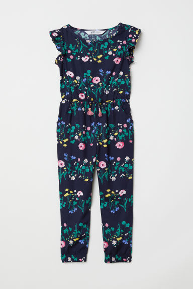 Patterned jumpsuit - Dark blue/Floral - Kids | H&M CN