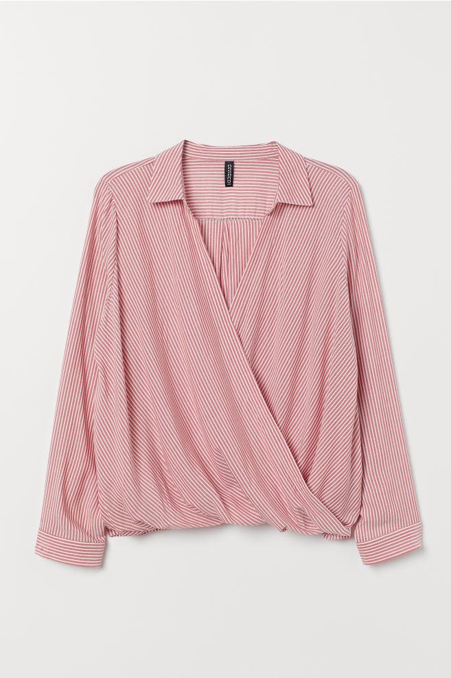cb1977bf1c079c ... H&M Collared Wrapover Blouse - Light red/white striped - Ladies | H&M  ...