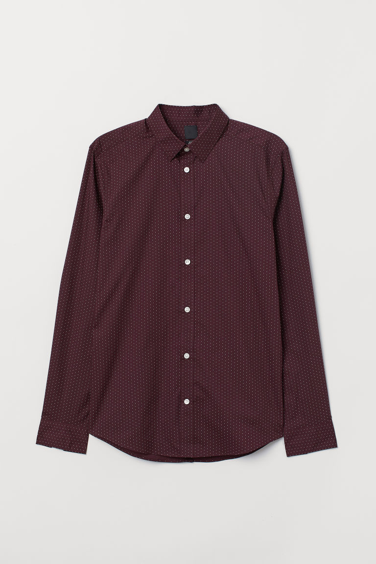 Easy-iron shirt Slim fit - Burgundy/Spotted - Men | H&M