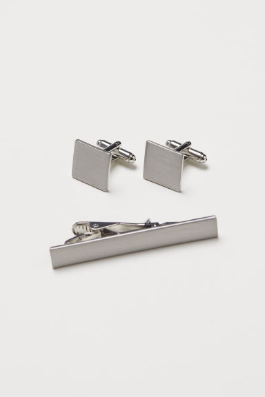 Cufflinks and tie pin - Silver-coloured - Men | H&M CN