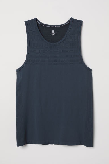 Seamless running vest top - Dark steel blue -  | H&M