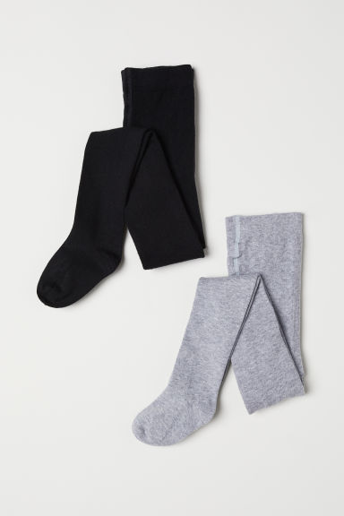 2-pack fine-knit tights - Black/Grey marl - Kids | H&M