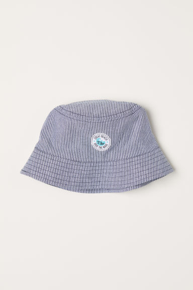 Cotton sun hat - Dark blue/Striped - Kids | H&M