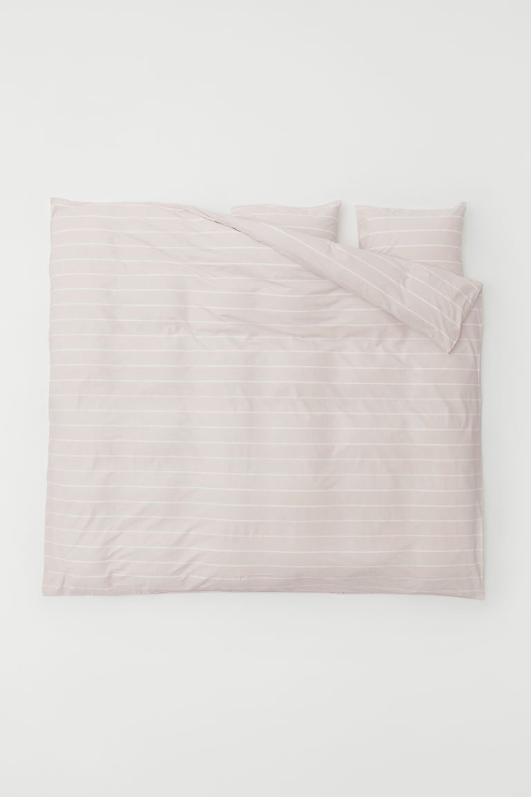 Set copripiumino fantasia - Rosa chiaro/righe - HOME | H&M IT
