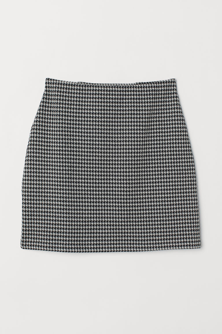 Short jersey skirt - Black/Dogtooth-patterned -  | H&M