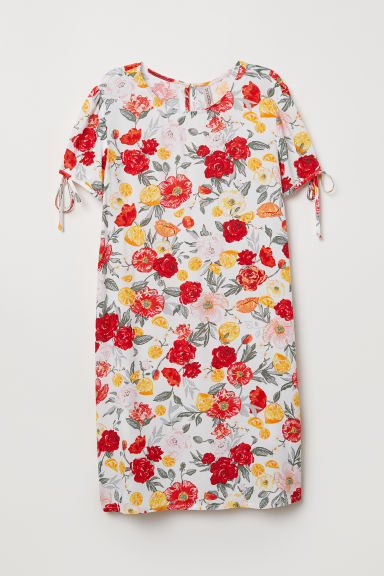 Puff-sleeved dress - White/Floral - Ladies | H&M CN