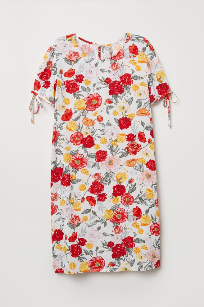 Puffos ujjú ruha - Fehér virágos - NŐI  fe0e7f40ff