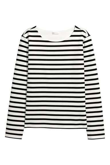 Long-sleeved jersey top - White/Black striped -  | H&M