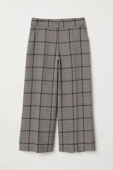 Wide trousers - Black/Checked - Ladies | H&M