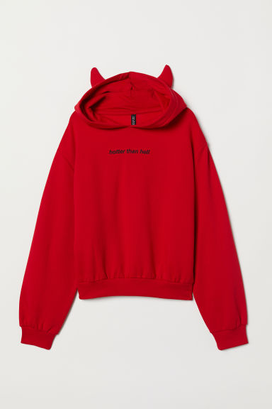 Printed hooded top - Red - Ladies | H&M
