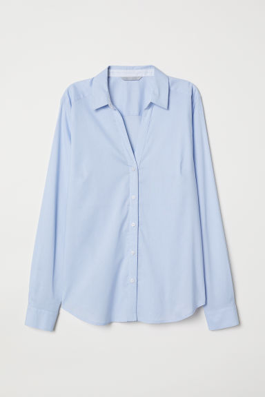 V-neck shirt - Light blue/White striped -  | H&M CN