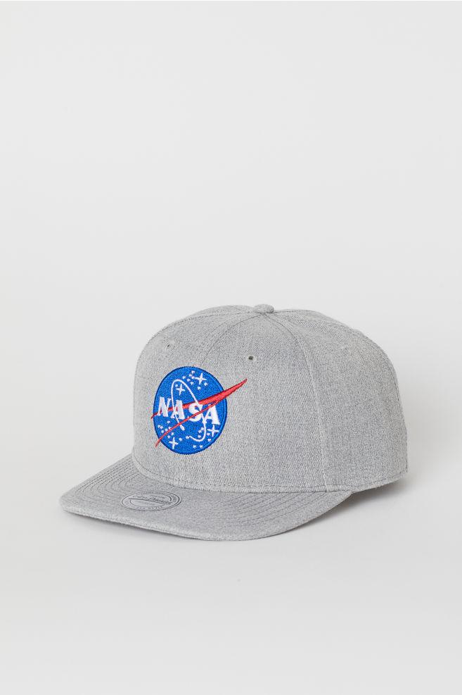 コットンツイルキャップ - ライトグレーメランジ/NASA - Men   H&M JP 1