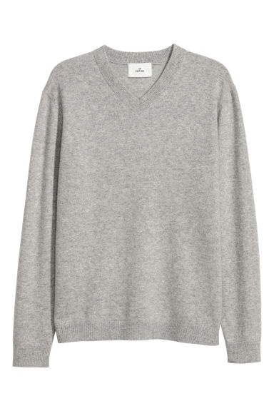 V-neck cashmere jumper - Grey marl -  | H&M