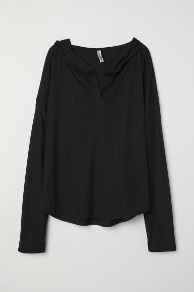 Top with a large hood - Black -  | H&M