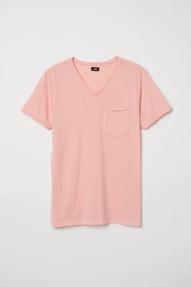 Raw-edge T-shirt - Light orange marl - Men | H&M