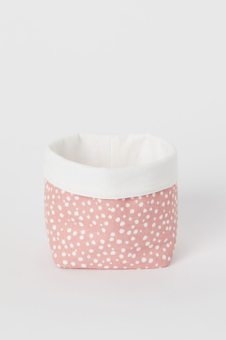 Small canvas storage basket - Pink/Spotted - Home All | H&M CN