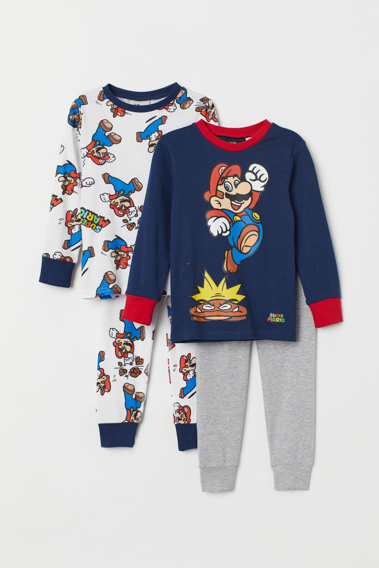 2-pack pyjamas - White/Super Mario - Kids | H&M IE