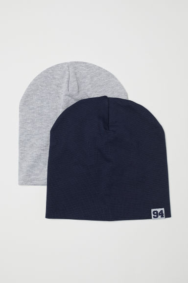 2-pack jersey hats - Dark blue/Light grey marl - Kids | H&M CN