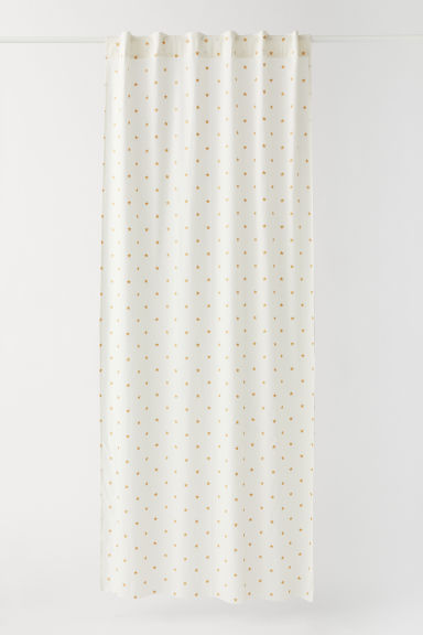 Patterned curtain length - Natural white/Stars - Home All | H&M CN