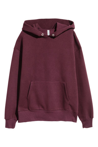Oversized capuchonsweater - Bordeauxrood -  | H&M NL