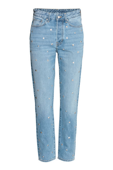 Vintage High Jeans - Blu denim chiaro/borchie - DONNA | H&M CH