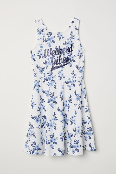 Printed jersey dress - White/Blue floral - Kids | H&M CN