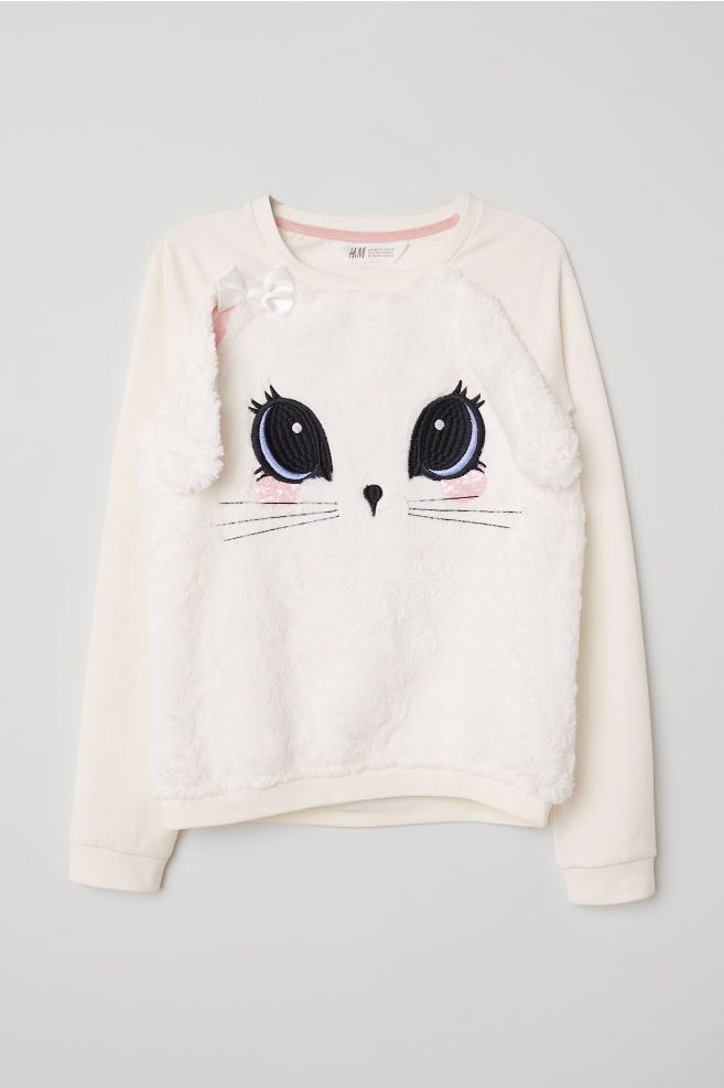 Sweatshirt med applikation - Vit/Kanin - BARN | H&M SE 1