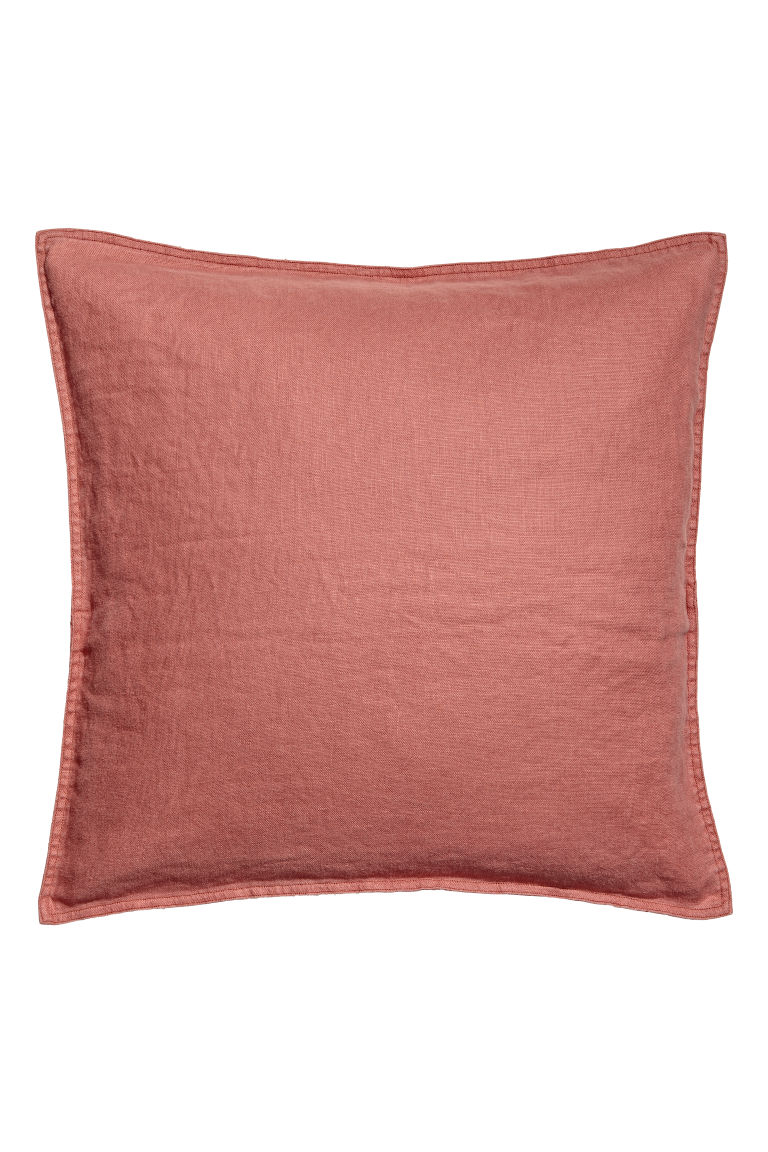 Washed linen cushion cover - Rust - Home All | H&M GB