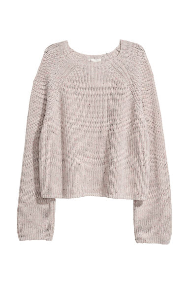 Ribbed jumper - Light beige marl -  | H&M