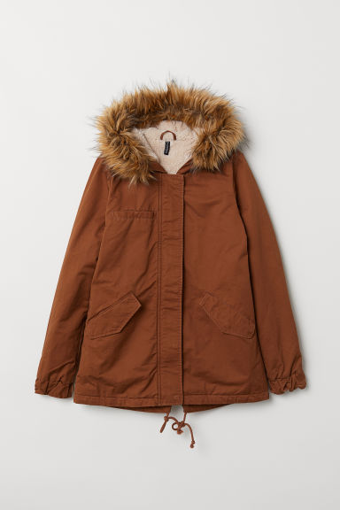 Padded parka with a hood - Light brown -  | H&M