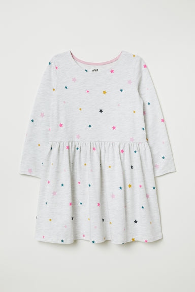 Jersey dress - Light grey marl/Stars - Kids | H&M