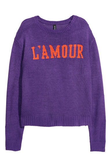 Knitted intarsia motif jumper - Purple - Ladies | H&M