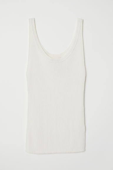 Ribbed top - Cream - Ladies | H&M
