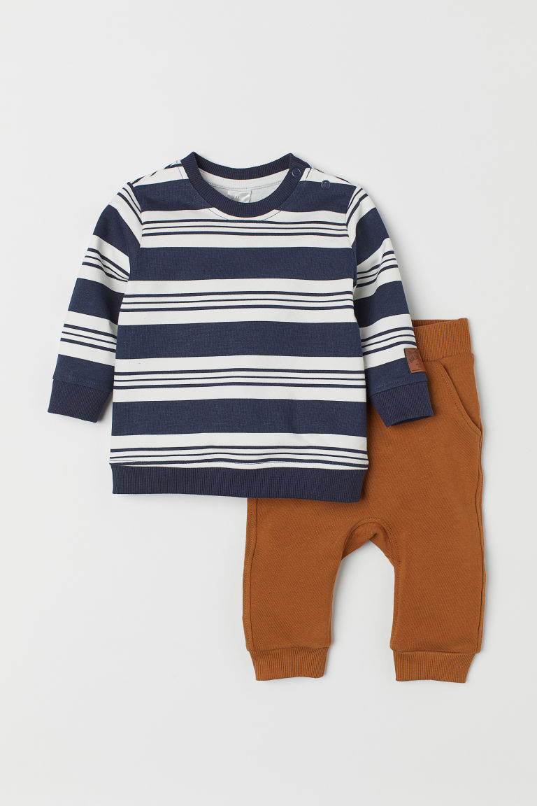 Sweatshirt and joggers - Light brown/Striped -  | H&M CN