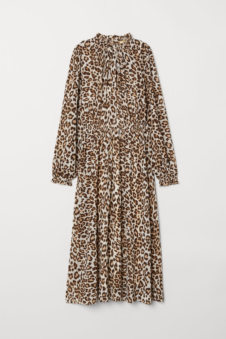 Chiffon dress - Beige/Leopard print - Ladies | H&M